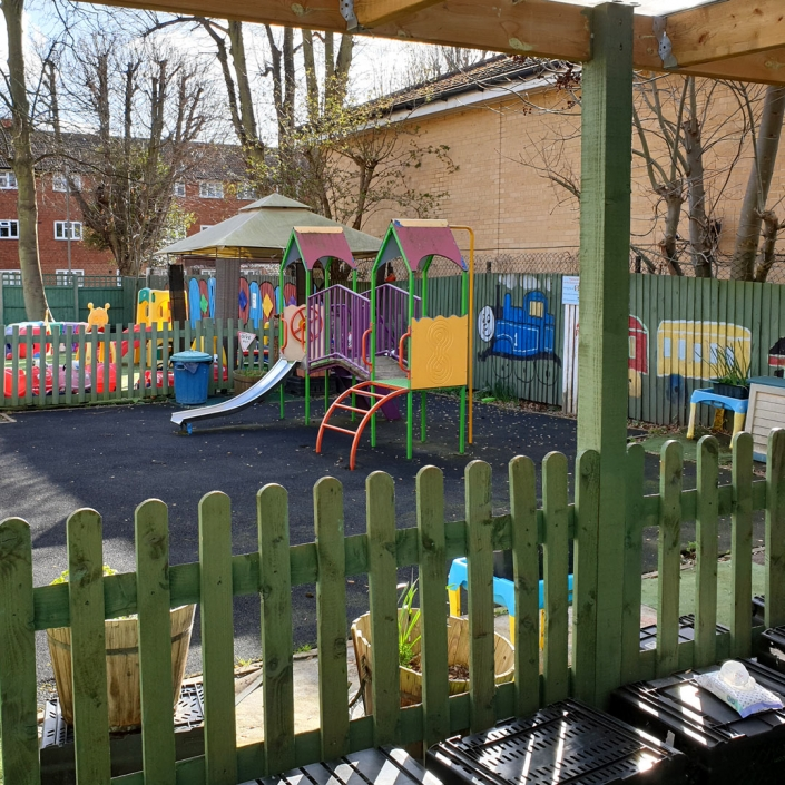 We have extensive outdoor play equipment in defined areas at Little Cedars Day Nursery.