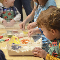 Sensory play with different materials and textures