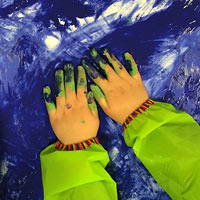 Creating with paint handprints