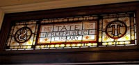 Stained glass above the main entrance to Streatham Library